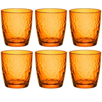 Bormioli Rocco Palatina Coloured Tumbler Glasses - 320ml (11oz) - Orange - Set of 6