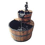 Bentley Garden 2 Tier Wooden Barrel Water Feature