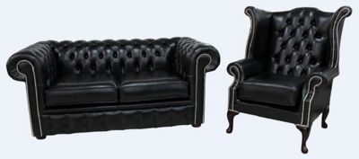 Chesterfield 2 Seater Sofa + Queen Anne Chair Old English Black Leather Sofa