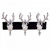 Triple Aluminium Trophy Stag Head Coat Hook Home Storage