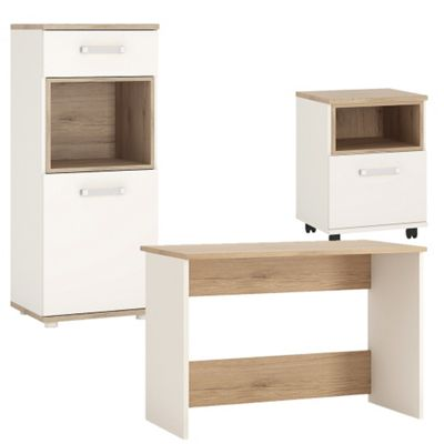 4KIDS Desk with mobile and narrow cabinet package, orange handles