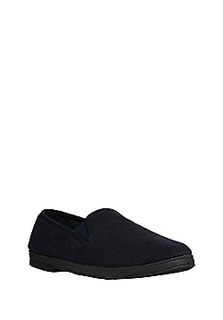 "F&F Corduroy Closed Back Slippers with Thinsulate""™ - Navy"