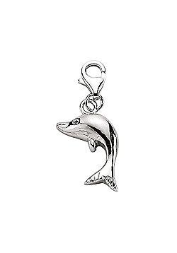 Jewelco London Rhodium Plated Sterling Silver Link Charm