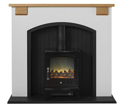 Adam Vermont Stove Suite in Cream with Aviemore Electric Stove in Black