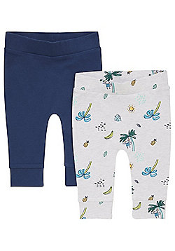 F&F 2 Pack of Tropical Print and Plain Cuffed Trousers - Multi