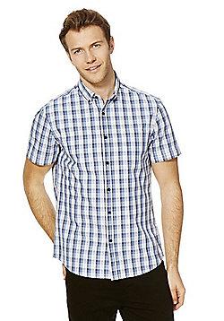 F&F Checked Short Sleeve Shirt - Blue