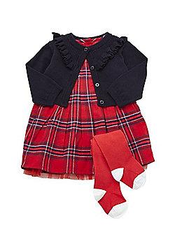 F&F Tartan Dress, Cardigan and Tights Christmas Set - Red