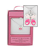 Equilibrium Girls Silver Plated Pink Butterfly Necklace