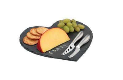 Grunwerg 4 Piece Heart Shaped Slate Cheese Board Set SLT-HRT