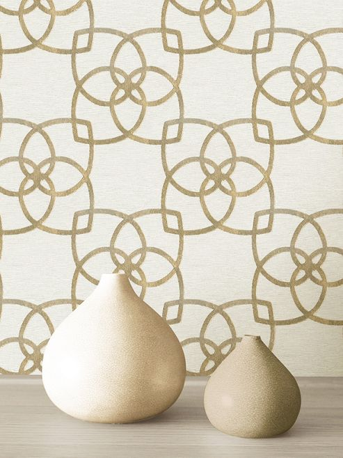 Marrakech Geometric Wallpaper Gold and Champagne Muriva 701370