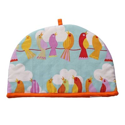 Homescapes Tea Cosy Double Design Birds on Wire Teapot Warmer