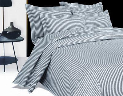 Arctic Stripe Grey Single Bedspread