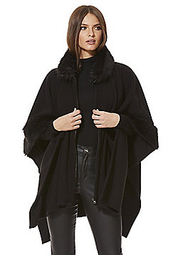 F&F Faux Fur Trim Fleece Wrap - Black