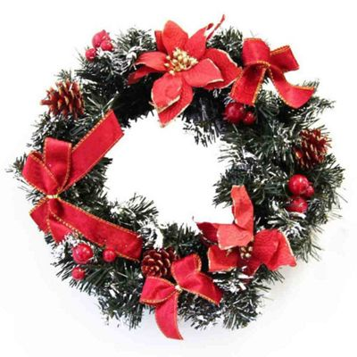 Homescapes Frosted Small Artificial Fir Branch Christmas Wreath 12 Inch Red Poinsettia Conifer Cone Berry