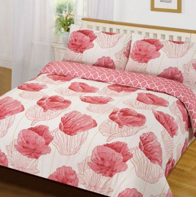 Quilt Cover with Pillowcase Set, Floral Pink - Single