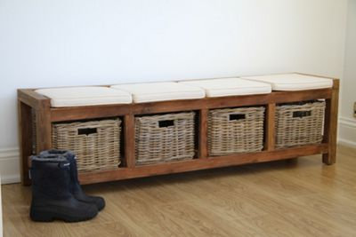 Reclaimed Teak Hall Seat With Kubu Wicker Drawers