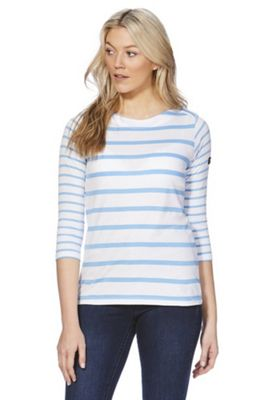 Regatta Parris Striped 3/4 Sleeve T-Shirt White/Blue 10