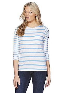 Regatta Parris Striped 3/4 Sleeve T-Shirt - White/Blue