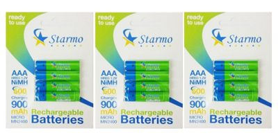 12 x Starmo AAA MN2400 900mAh HR03/1.2V Rechargeable Batteries