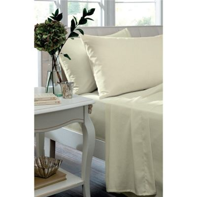 Catherine Lansfield Home 200TC Egyptian Cotton Housewife Pillowcases - Cream