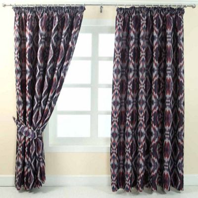 Homescapes Blue and Red Jacquard Curtain Geometric Diamond Design Fully Lined - 66