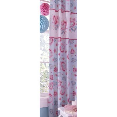 Catherine Lansfield Home Kids Cotton Rich Sweethearts Tab Top Cotton Rich Curtains Multi 168cm wide x 183cm drop (66x72 inches)
