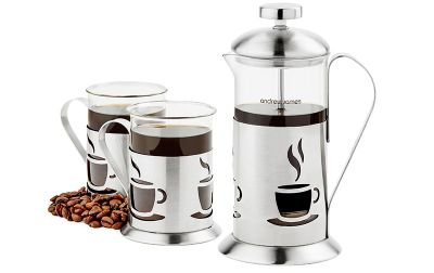 Andrew James Cafetiere and Glasses Gift Set in Silver