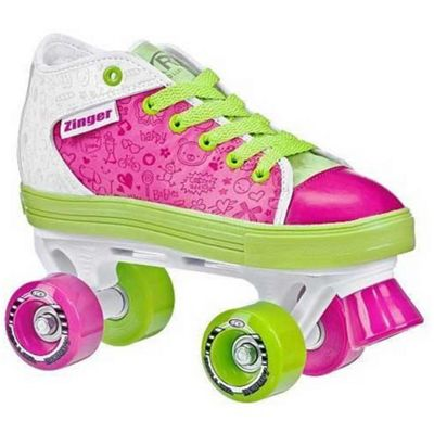 Roller Derby Zinger Pink/White/Lime Girls Quad Roller Skates