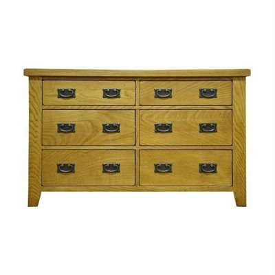 Cambridge Petite Rustic Oak Large 6 Drawer Chest
