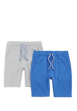 F&F 2 Pack of Sweat Shorts - Grey/Blue