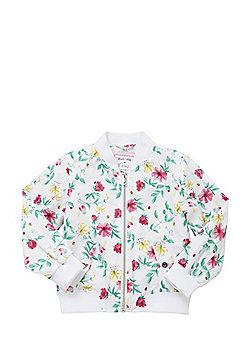 F&F Floral Print Bomber Jacket - White & Multi