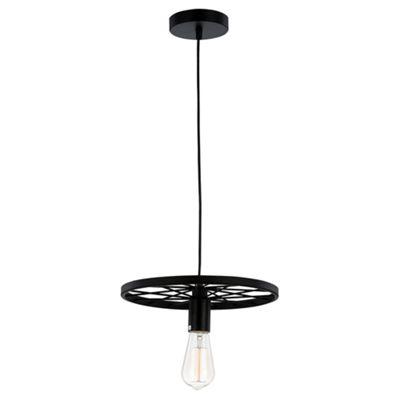 Black Metal Cartwheel Pendant Ceiling Light Fitting