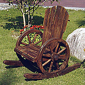 Solid Wood Garden Rocking Chair - Burntwood