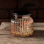 Mottled Copper Battery LED Glass Jar Lantern