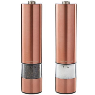 Andrew James Electronic Salt & Pepper Mill Set - One Touch Illuminated Grinding - Copper
