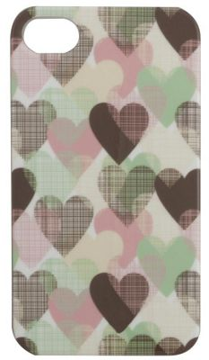 Tortoise™ Hard Protective Case, iPhone 4/4S. White with Hearts design