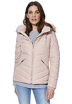 F&F Shower Resistant Hooded Puffer Jacket - Blush pink