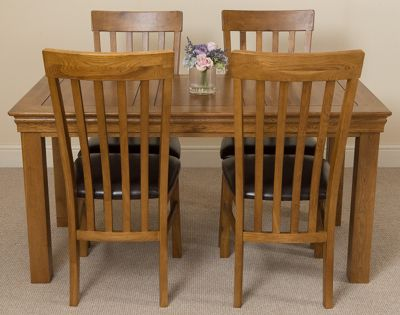 French Rustic 150cm Fixed Solid Oak Dining Table with 4 Solid Rustic Oak Chairs