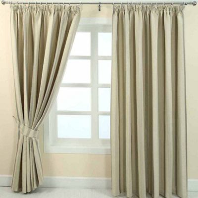 Homescapes Cream Jacquard Curtain Modern Striped Design Fully Lined - 46