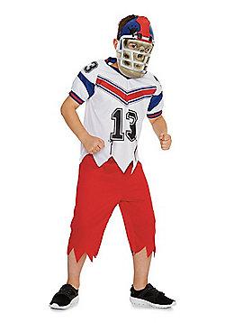 F&F Zombie American Footballer Halloween Costume - Red