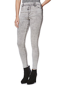 F&F Premium Acid Wash Mid Rise Jeggings - Grey