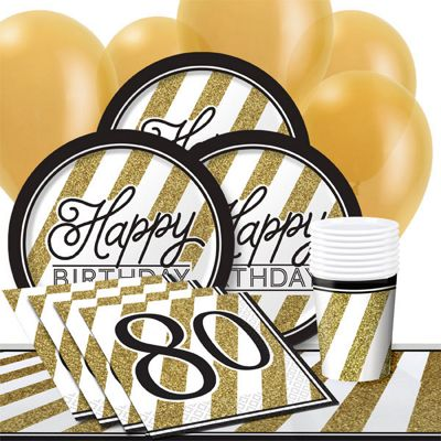 Black & Gold 80th Party Pack - Value Party for 8