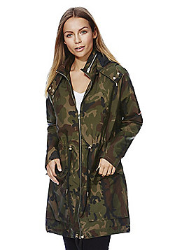 Only Camo Print Long Line Parka - Green