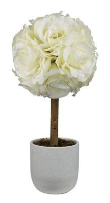 Stylish Cream Rose Topiary Tree White Ceramic Pot Home Decoration