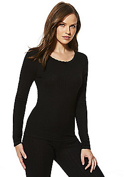 F&F Pointelle Long Sleeve Thermal Top - Black