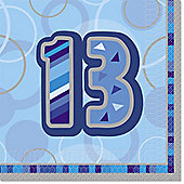13th Birthday Blue Luncheon Napkins - 2ply Paper - 16 Pack