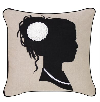 Beige Cushion With Black Silhouette Black Piped Edging