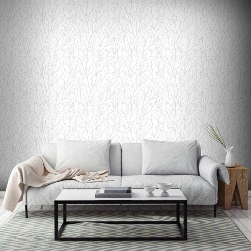 Superfresco Willamena Motif Silver & White Wallpaper