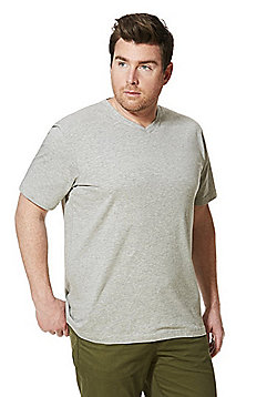 Jacamo Longer Length V-Neck T-Shirt - Grey