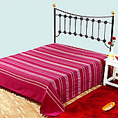 Homescapes Cotton Morocco Striped Pink Throw, 255 x 360 cm